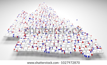 3D Map of Queensland - Australia | 3d Rendering, mosaic of little bricks - White and flag colors