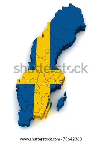 3D Map of Sweden - stock photo