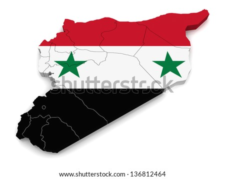3D Map of Syria - stock photo