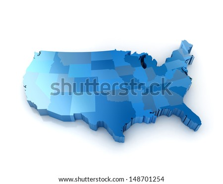 3D map of the united states of america - stock photo
