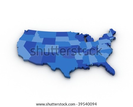 3D map of the USA on white background - stock photo