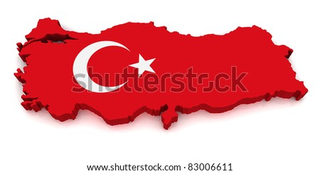 3D Map of Turkey - stock photo