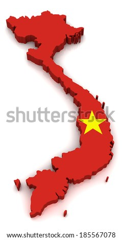 3D map of Vietnam - stock photo