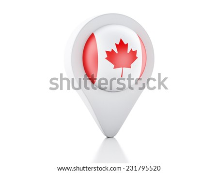 3d Map pointer canada flag icon on white background - stock photo