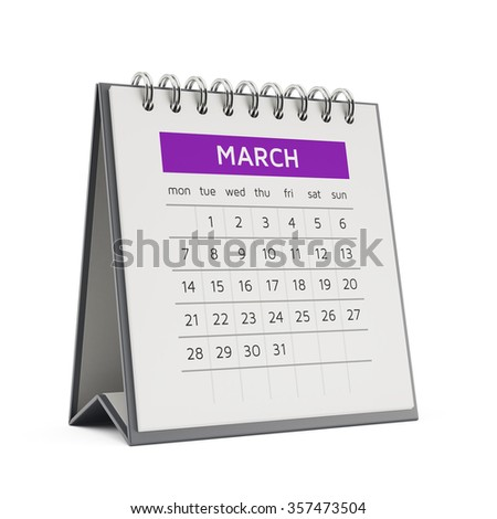 3d march desktop calendar with soft shadow isolated on white background