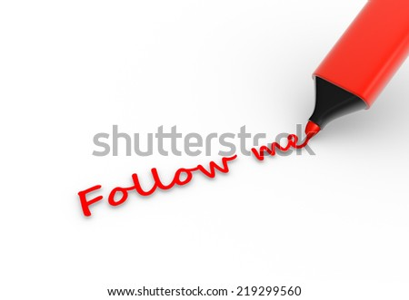 3d Marker pencil with  text Follow me. 3d render - stock photo
