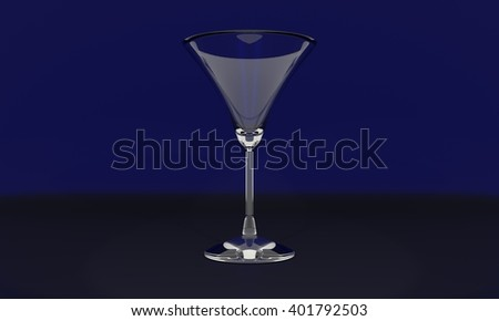 3d martini glass on black background