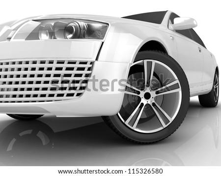 3D matt white car design - stock photo