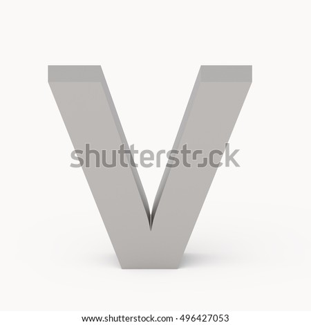3d Matte grey font V, 3D rendering graphic isolated white background