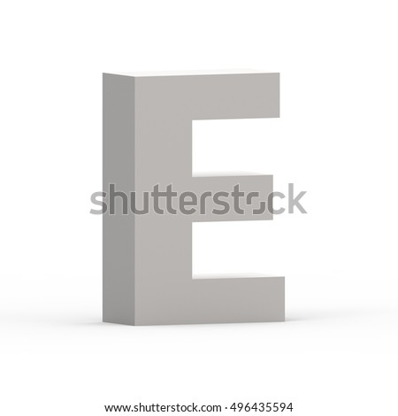 3d Matte grey left leaning font E, 3D rendering graphic isolated white background
