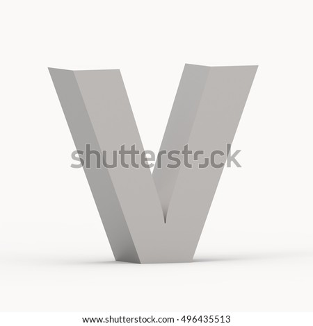 3d Matte grey left leaning font V, 3D rendering graphic isolated white background