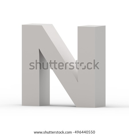 3d Matte grey right leaning font N, 3D rendering graphic isolated white background