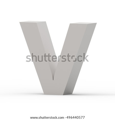 3d Matte grey right leaning font V, 3D rendering graphic isolated white background