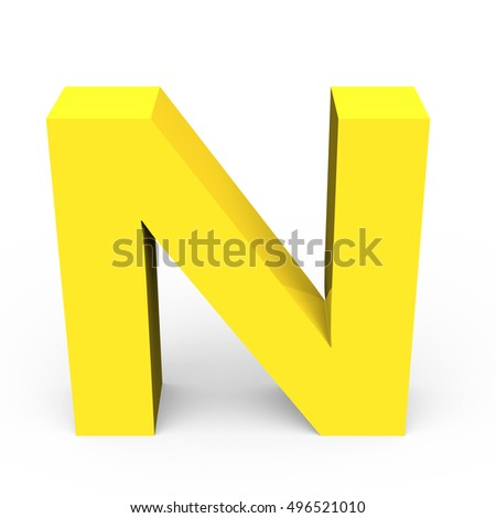 3d Matte light yellow font N, 3D rendering graphic isolated white background