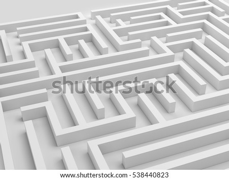 3D maze illustration strategy challenge business problem