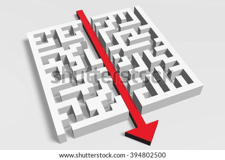 3D maze/ labyrinth concept - way out. - stock photo