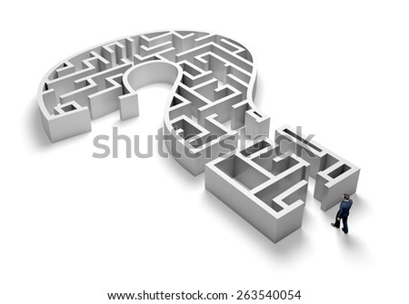 3D. Maze, Question Mark, Asking. - stock photo