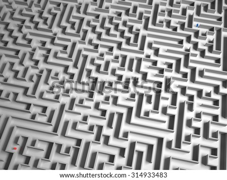 3D maze with 2 people lost.