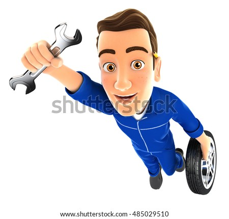 3d mechanic flying with wrench and wheel, illustration with isolated white background