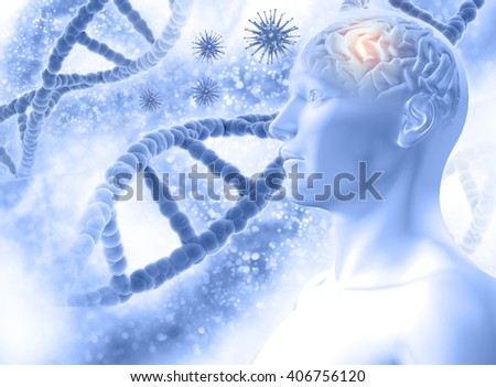 3D medical background with a male figure with brain and virus cells - stock photo