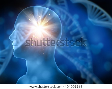 3D medical background with blurred DNA strands and male head  - stock photo