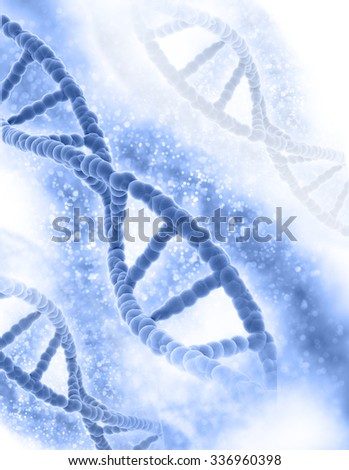 3D medical background with DNA strands  - stock photo