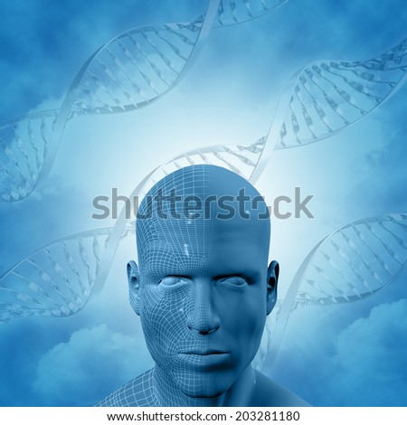 3D medical background with DNA strands and male face - stock photo
