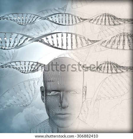 3D medical background with DNA strands and male face with partial sketch phase - stock photo
