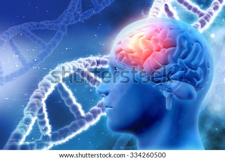 3D medical background with male head with brain and DNA strands - stock photo