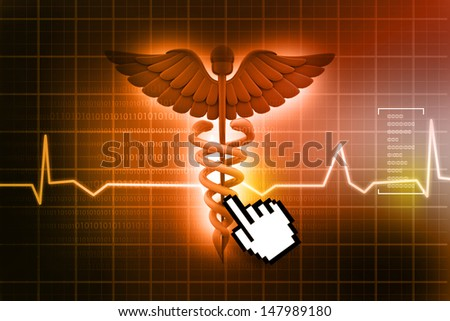 3d medical logo on a abstract heart  background - stock photo