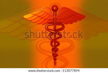 3d medical logo on a color background - stock photo