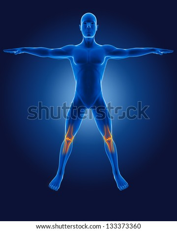 3D medical man with skeleton knees highlighted - stock photo