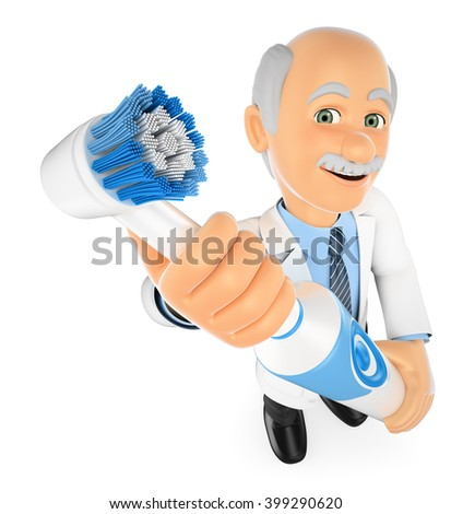 3d medical people. Dentist with a electric toothbrush. Isolated white background. - stock photo