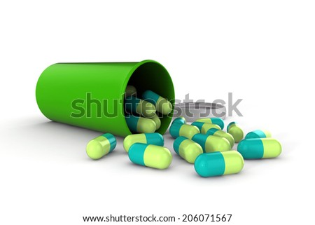 3d medical pills isolated on white