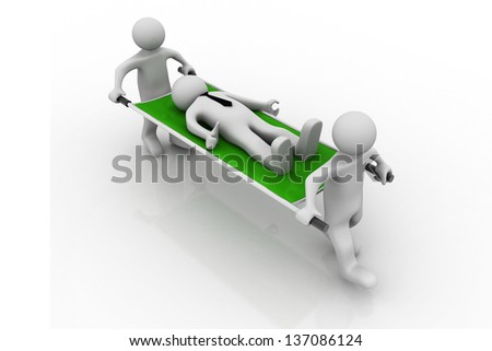 3D Medics Carrying Patient. man first aid, on white background - stock photo