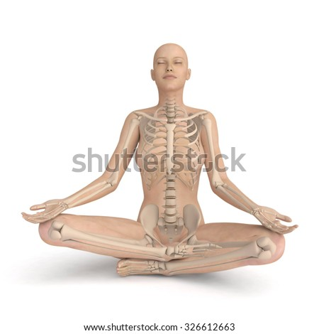 3D meditating woman - xray skeleton version, isolated on white background