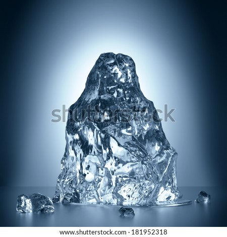 3d melting ice, frozen water block, creative iceberg illustration - stock photo
