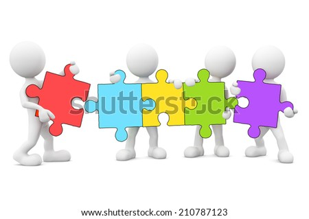 3D men connecting jigsaw puzzle.