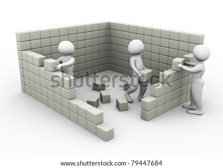 3d men constructing wall with the help of cubes/blocks. - stock photo