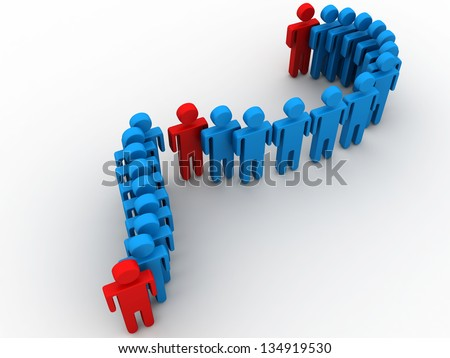 3d men following their leader. 3d render of concept of leadership and teamwork - stock photo