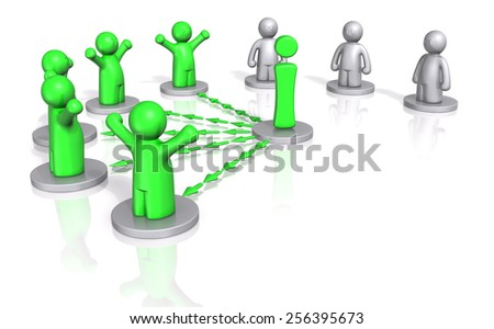 3d men getting access to information on white background