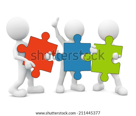3D men holding jigsaw.