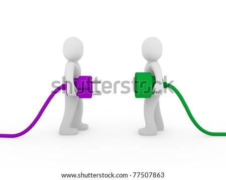 3d men human plug purple green cable energy - stock photo