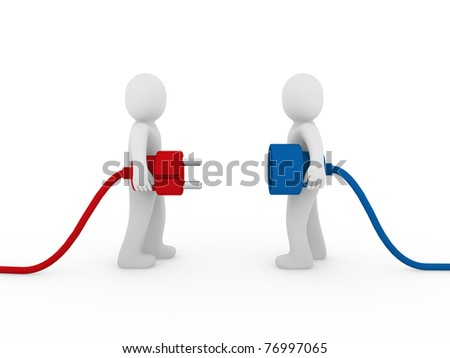 3d men human plug red blue cable energy - stock photo