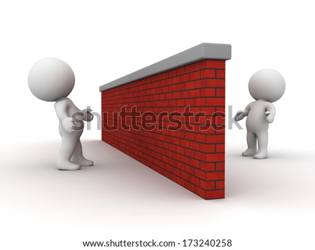 3D men looking at each other from opposite sides of brick wall