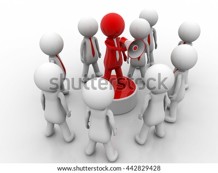 3d men man megaphone team red business scream - stock photo