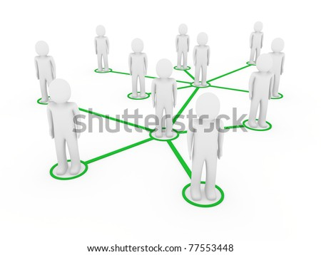 3d men network social green people connection teamwork