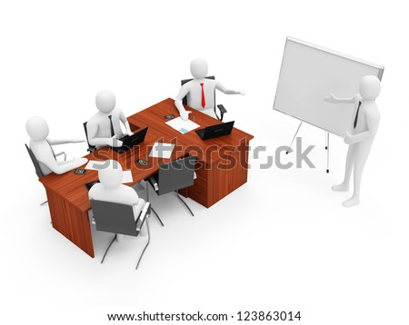 3d Men on a Business Presentation isolated on white background - stock photo