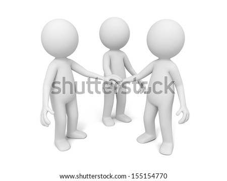 3d men, people together with joining hands
