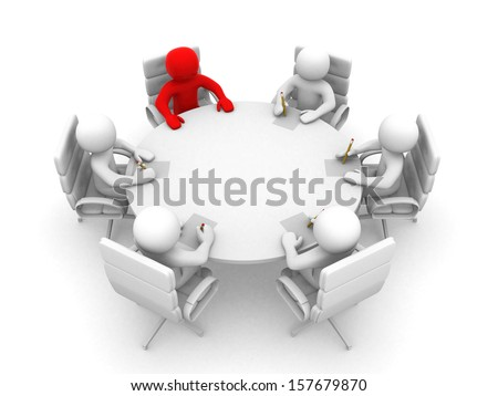 3D men sitting at a round table and having business meeting - 3d render